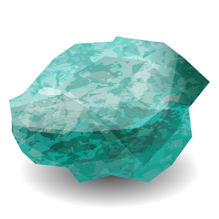 Emerald stone rough. Translucent raw piece of stone. Precious stone, gemstone, mineral. Texture of layers. Geology mining science jewelry
