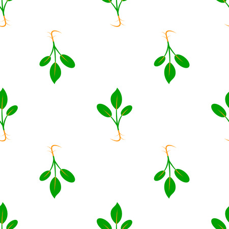 Microgreens. Sprouting seeds of a plant. Seamless pattern. Vegan food. Isolated on white. Symmetrical arrangement