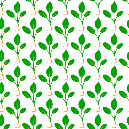 Microgreens. Sprouting seeds. Seamless pattern. Vitamin supplement, vegan food. Isolated on white. Symmetrical arrangement Stock Illustratie