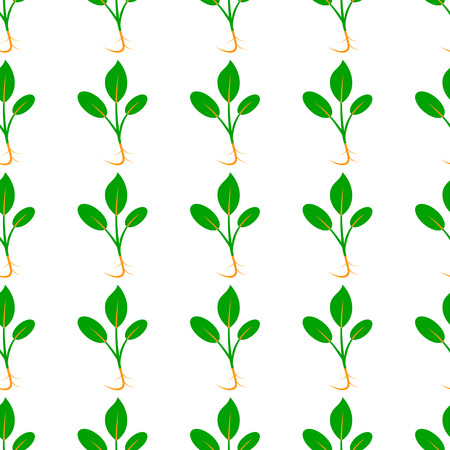 Microgreens. Sprouting seeds of a plant. Seamless pattern. Vitamin supplement, vegan food. Isolated on white. Symmetrical Foto de archivo - 124992823