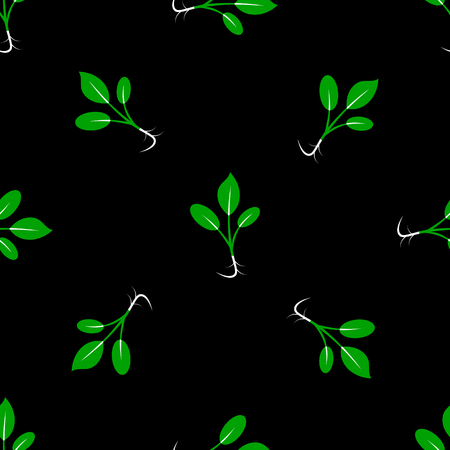 Microgreens. Sprouting seeds of a plant. Seamless pattern. Vitamin, vegan food. Black background