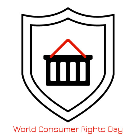 World Consumer Rights Day. Concept of the event. Simple logo, icon. Shopping cart and shield Foto de archivo - 124992900