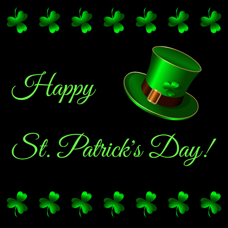 Happy St Patricks Day. Green hat, Belt buckle, shamrock clover. Postcard, invitation card. Black background Foto de archivo - 124381120
