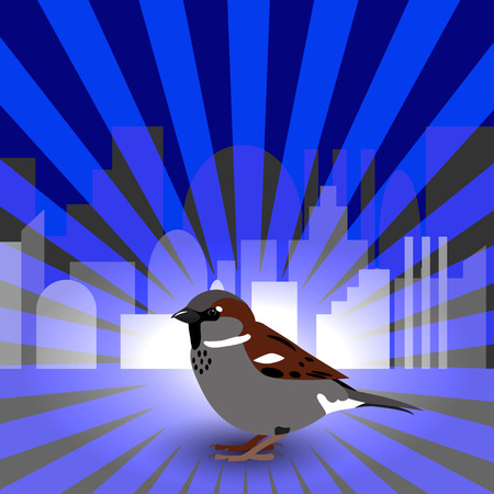 World Sparrow Day. Sparrow on the background of the cityscape and blue rays. Concept of ecological events. Protection of birds. Foto de archivo - 124381121