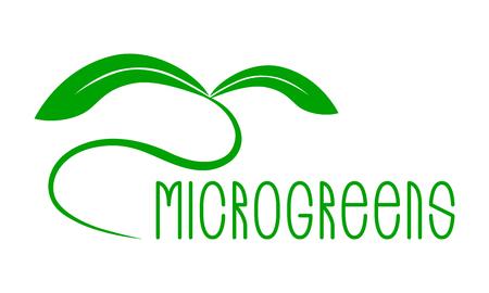Microgreens Logo. Seed and living microgreens packaging design. Grunge texture Logo