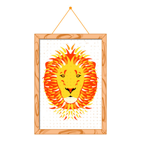 Lion portrait in a wooden frame, hanging on the wall. Isolated on white. Cartoon style