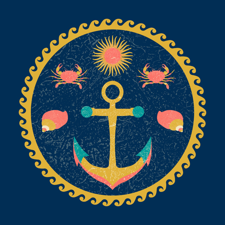 Nautical circle poster. Cartoon style with grunge effects. Anchor, sun, crab, shell. Round frame from waves Illustration
