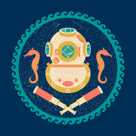 Nautical circle poster. Cartoon style with grunge effects. Vintage underwater helmet, telescope, starfish. Round frame from waves