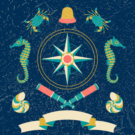 Nautical poster. Cartoon style with grunge effects. Tape for text. Compass rose, Bell, telescope, crab, sea horse. Round frame from waves Illustration