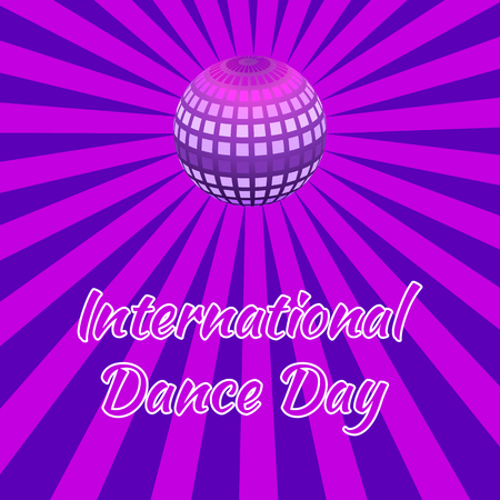 International Dance Day. Concept of the event. Mirror ball for parties with rays, purple background. Pop art style