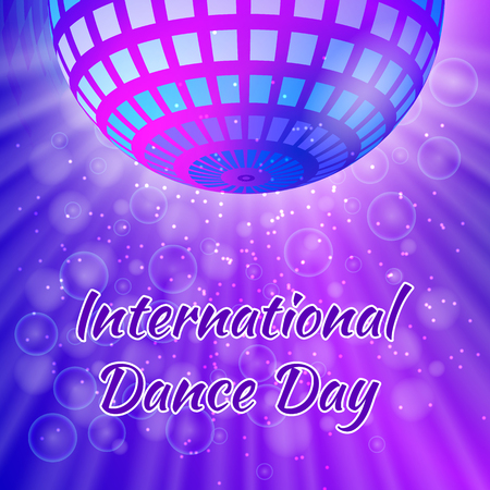 International Dance Day. Concept of the event. Mirror ball for parties from above with rays, purple blur background Illustration