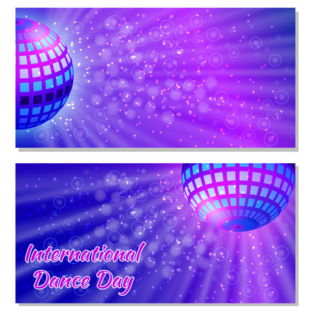 International Dance Day. Concept of the event. Flyers for event participants. Mirror ball for parties with rays, purple blur background