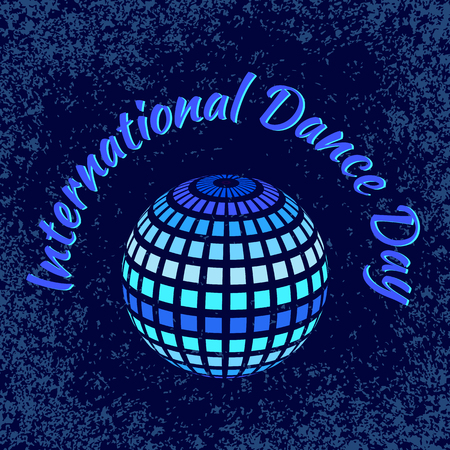 International Dance Day. Concept of the event. Mirror ball for parties, blue grunge background 向量圖像