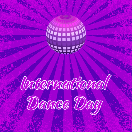 International Dance Day. Concept of the event. Mirror ball for parties with rays, purple grunge background. Pop art style Illustration