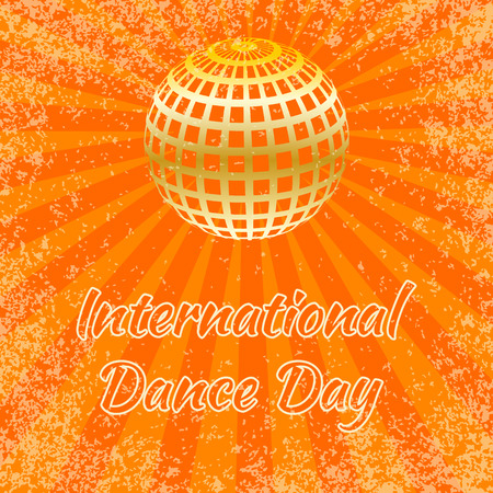International Dance Day. Concept of the event. Mirror ball for parties with rays, orange grunge background. Pop art style