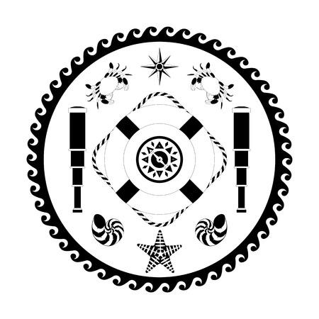 Nautical circle black and white poster. Cartoon style. Compass, compass rose, lifebuoy, telescope, crab, shell, starfish Illustration