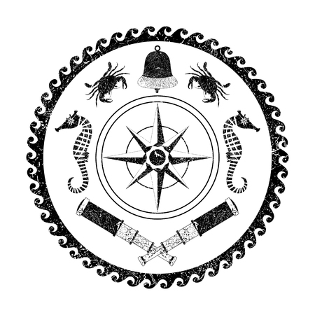 Nautical circle black and white poster. Cartoon style with grunge effects. Compass rose, Bell, telescope, crab, sea horse. Illustration