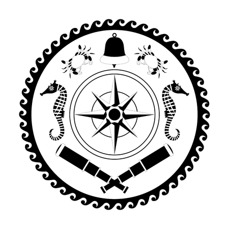 Nautical circle black and white poster. Cartoon style. Compass rose, Bell, telescope, crab, sea horse.