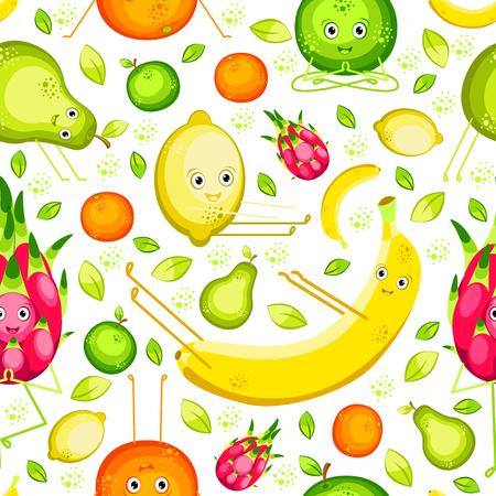 Vegan Yoga. Fruits do yoga. Seamless pattern.