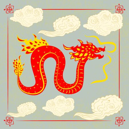 Traditional chinese Dragon character fly. Flat style. Stock Illustratie