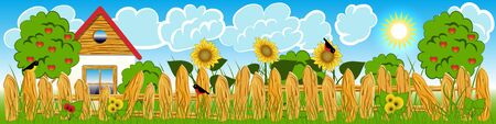 Country house, Gardening Flat Illustration. House, fence, trees, plants, birds, sky, clouds, sun Illustration