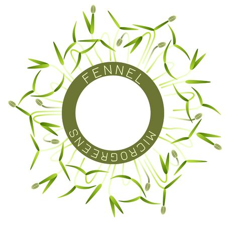 Microgreens Fennel. Seed packaging design, round element in the center. Around him sprouts. Vitamin supplement, vegan food