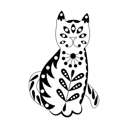 Ornamented abstract cat. Scandinavian style pattern. Black and white illustration