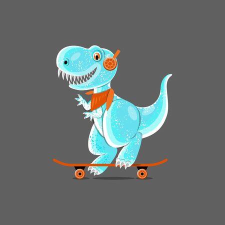 Dinosaur teen ride a skateboard. Funny cartoon characters. Seamless pattern. Isolated on gray