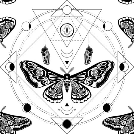 Night moth, butterfly pupa. Sacred geometry, esoteric symbols. Иллюстрация