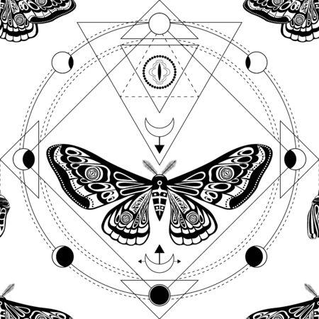 Nachtfalter, Schmetterlingspuppe. Heilige Geometrie, esoterisch. Vektorgrafik