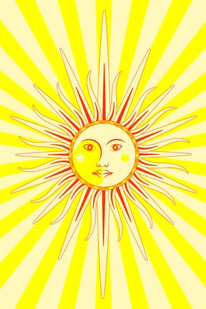 Sun and moon. Face character. Vertical layout. Bright yellow background with rays Stock Illustratie