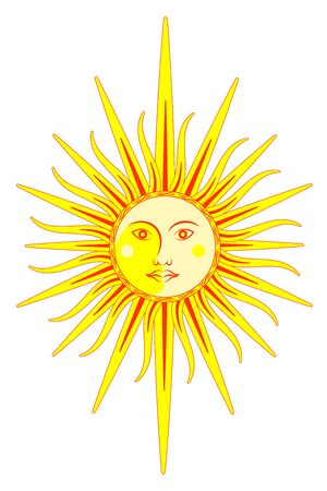 Sun and moon. Face character. Vertical layout. Isolated on a white background.