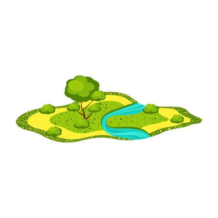 Landscape - field with a river, tree, bushes. Cartoon flat style