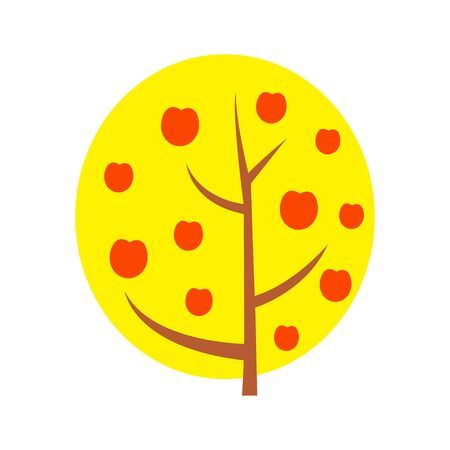 Autumn Apple tree vector illustration. Isolated on white. Cartoon flat style.