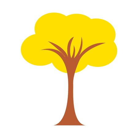 Autumn tree vector illustration. Isolated on white. Cartoon flat style. Stock Illustratie
