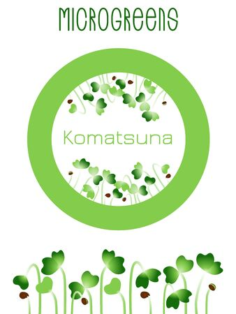 Microgreens Komatsuna. Seed packaging design, round element in the center. Sprouting seeds of a plant