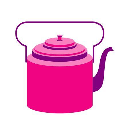 Bright retro teapot. Vector illustration isolated on white Ilustracja