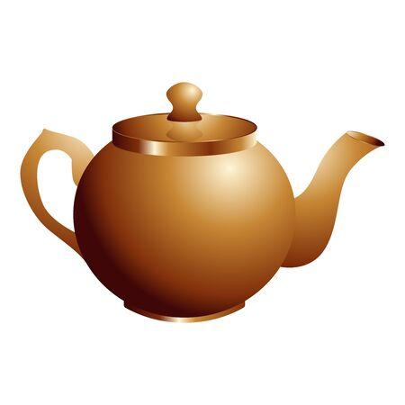 opper retro teapot. Vector illustration isolated on white.
