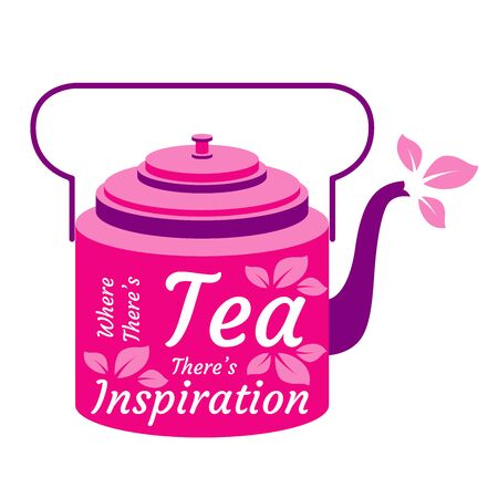 International Tea Day. Agricultural holiday concept. Bright retro teapot. Lettering - Where theres tea theres inspiration. Tea leaves Ilustracja