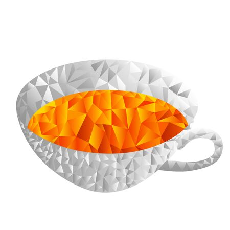 A cup of tea, steam. Polygonal style. Bright positive vector illustration