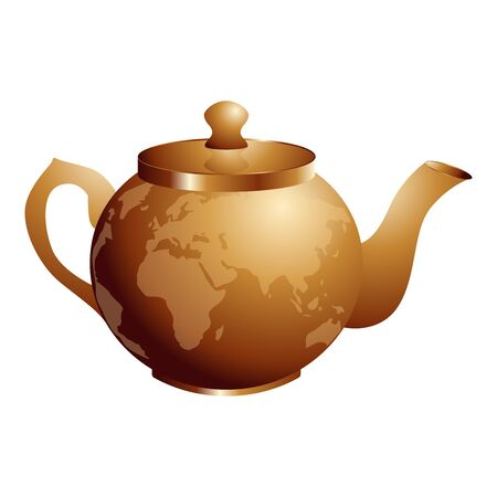 International Tea Day. Agricultural holiday concept. Copper retro teapot. Continents silhouettes Ilustracja