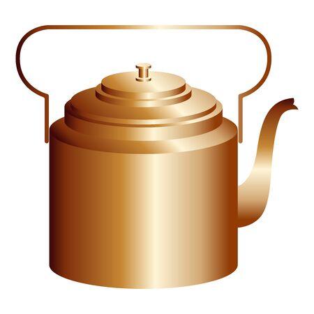 Copper retro teapot. Vector illustration isolated on white Ilustracja