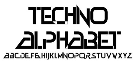 Techno alphabet type font. Digital letters hi-tech style. Vector illustration for posters, banners, flyers Ilustracja