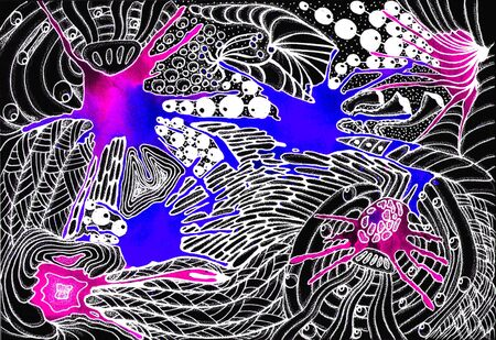 Space abstraction. Black-white drawing and color spots.