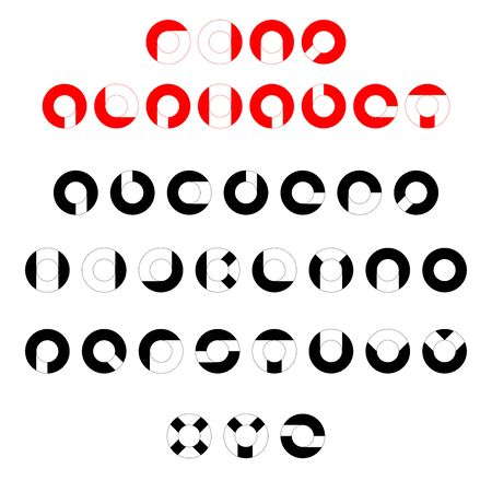 Ring vector alphabet font. Parts of a circle, ring, torus. Geometric English letters. Elements for design