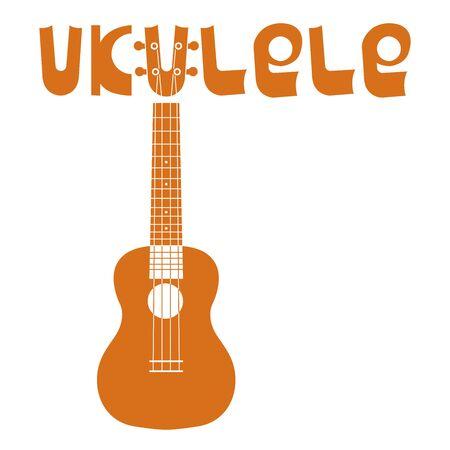 Ukulele chitarra hawaiana. Iscrizione della parola ukulele. Strumento musicale a corda. Semplice illustrazione vettoriale marrone Vettoriali