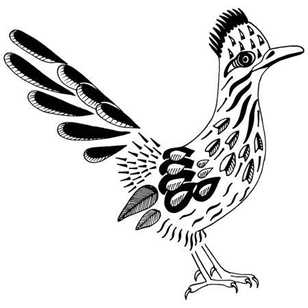Road Runner. Spirit Animal. Greater roadrunner. Geococcyx californianus. Bird silhouette with pattern. Vector illustration