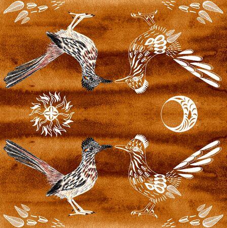 Road Runner. Greater roadrunner. Geococcyx californianus. Bird illustration. Spirit Animal. Sun, moon, leaves. Symmetric composition. Texture background