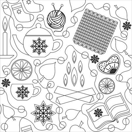 Hygge. Danish, Scandinavian and norwegian comfort. Home comfort items, glassware. Seamless pattern Ilustrace