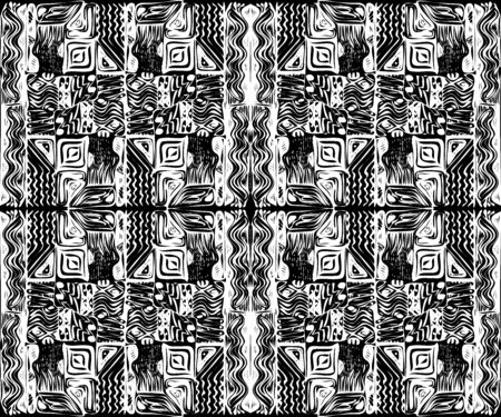 African tribal aborigines ornament. Vector illustration. Black and white. Jagged sloppy contours. Seamless pattern